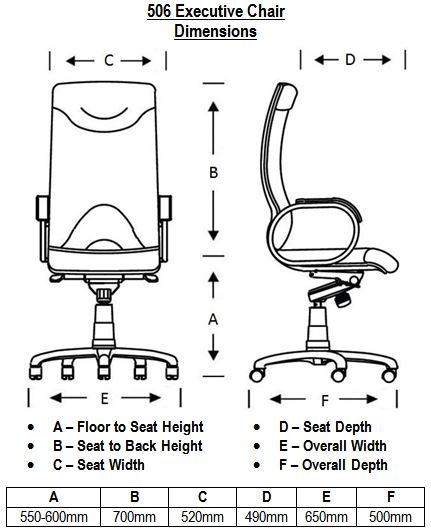 506 Leather Executive Chair Dimensions