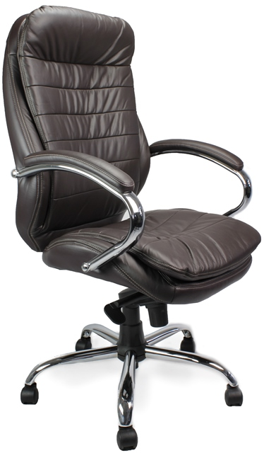 618 Executive Leather and Chrome Chair Brown