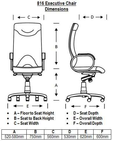 816 Leather Executive Chair Dimensions