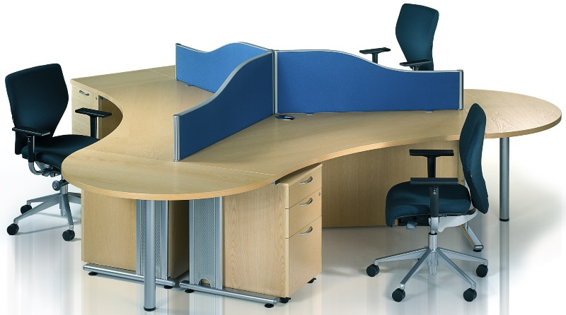 Abbey Executive Cantilver Workstations with Desk-end Semi-circular Tables and Desk High Pedestals