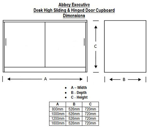 Abbey Executive Desk High Sliding and Hinged Door Cupboard Dimensions