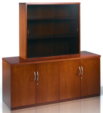 Abbey Executive Low Hinged Door Cupboard and Sliding Glass Door Bookcase