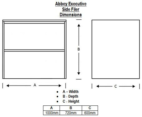 Abbey Executive Side Filler Dimensions