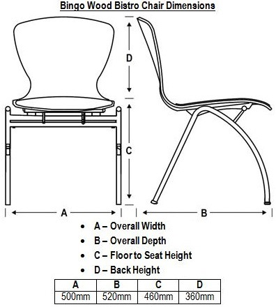 Bingo Wood Bistro Chair Dimensions