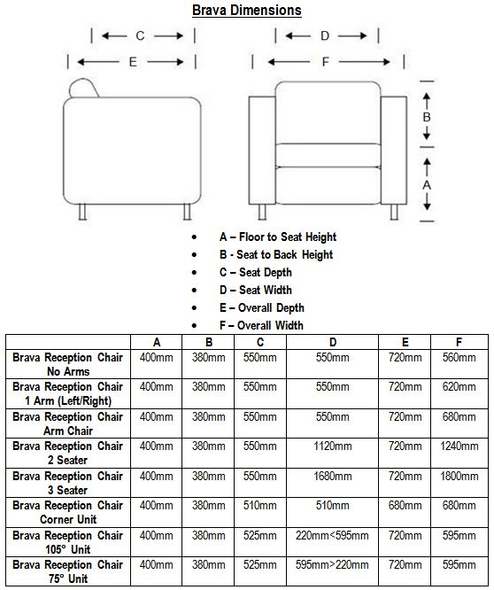 Bravo Reception Seating Dimensions