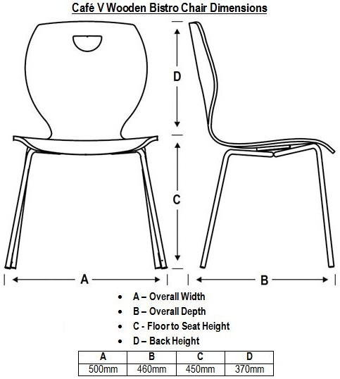 Café V Wooden Bistro Chair Dimensions