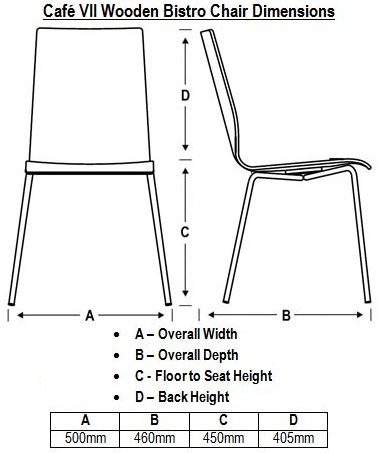 Café VII Wooden Bistro Chair Dimensions