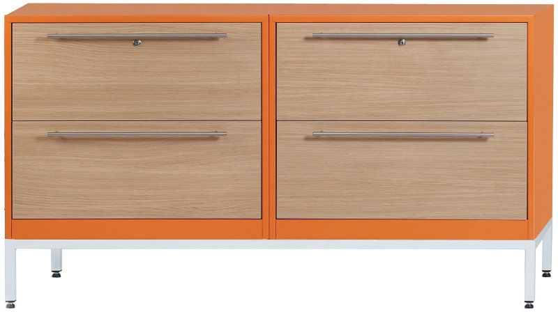 Configure-Me Metal & Wooden Credenza, 2 Draw & 2 Draw