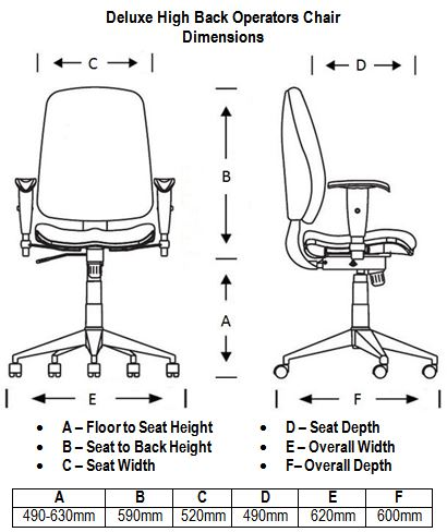 Deluxe High Back Operators Chair Dimensions