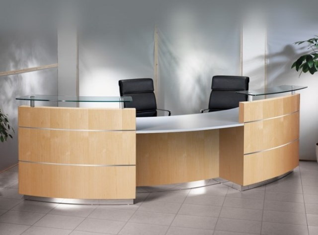 Elite Type P Reception Desk Curved with DDA in Ash