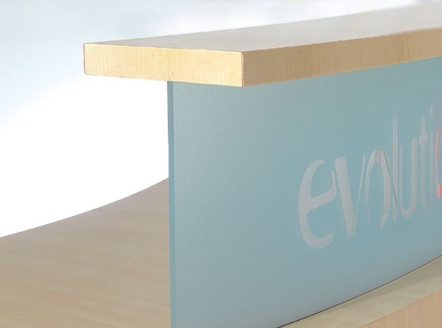 Evolution Classic Reception Desk Blue Upstand