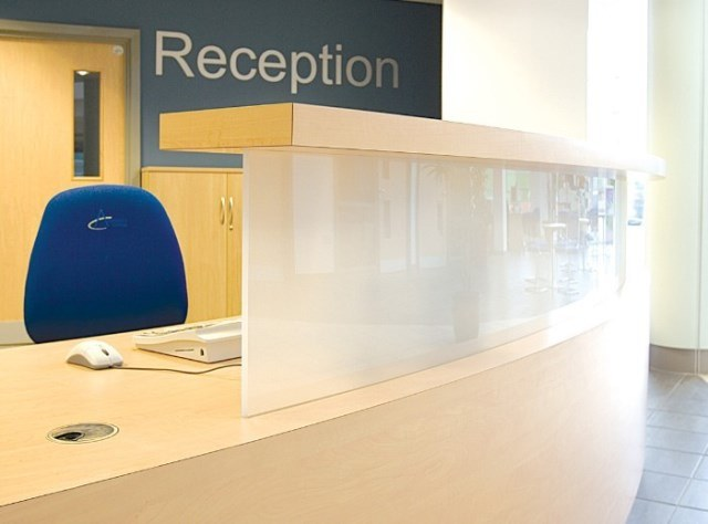 Evolution Classic Reception Desk White Upstand