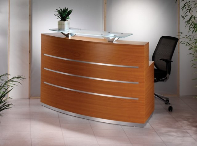 Evolution Eclypse Reception Desk Compact Curved in Cherry