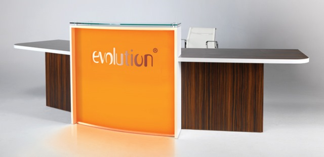 Evolution Light Reception Desk in Walnut with Orane Front Panel