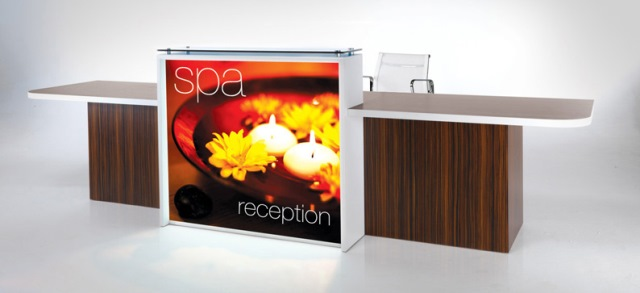 Evolution Light Reception Desk in Walnut with Screen Printed Front Panel