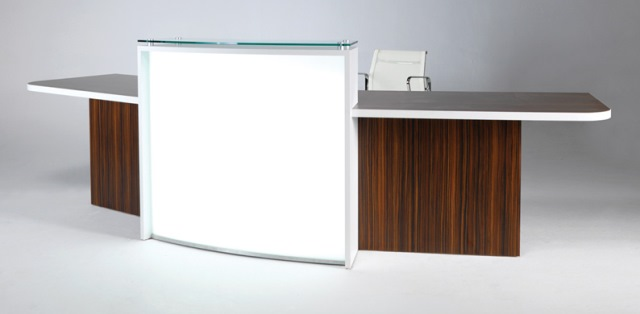 Evolution Light Reception Desk in Walnut with White Front Panel