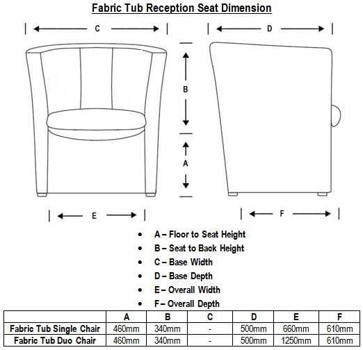 Fabric Tub Reception Seat Dimensions