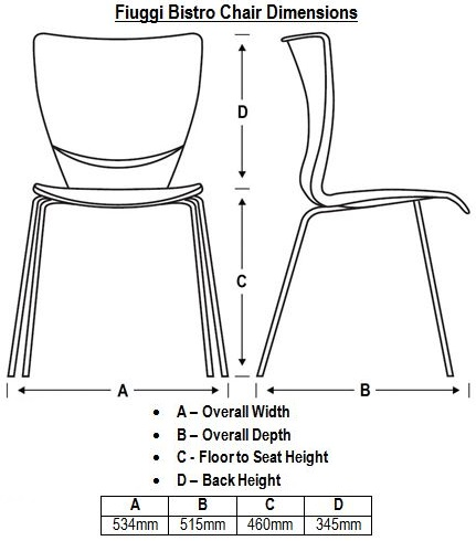 Fiuggi Bistro Chair Dimensions