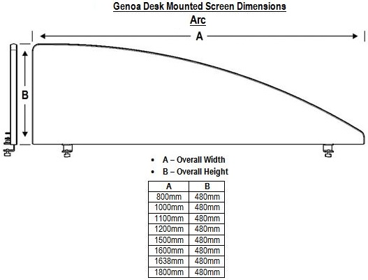 Genoa Arc Desk Mounted Screen Dimensions