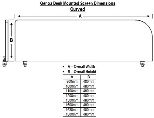 Genoa Curved Desk Mounted Screen Dimensions