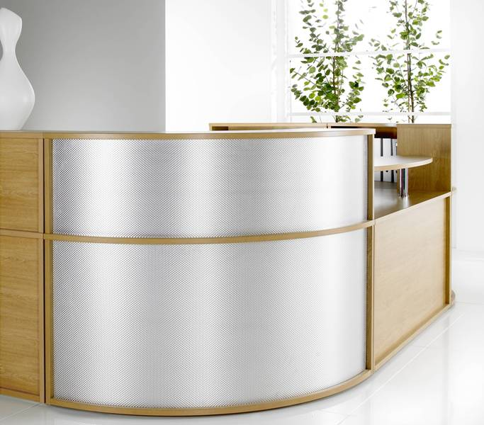 Genoa Reception Corner Unit with Metal Curved Panel