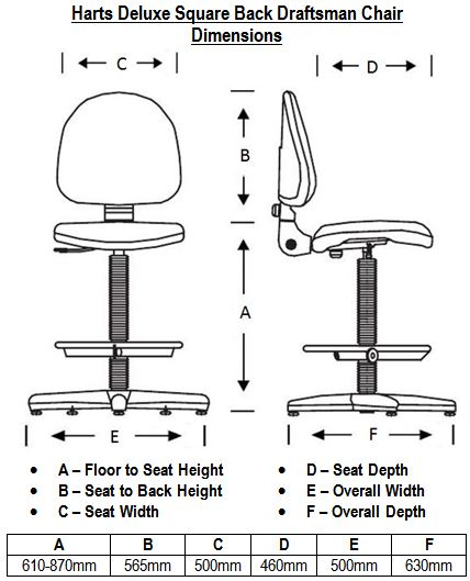 Harts Deluxe Square Back Draftsman Chair Dimensions