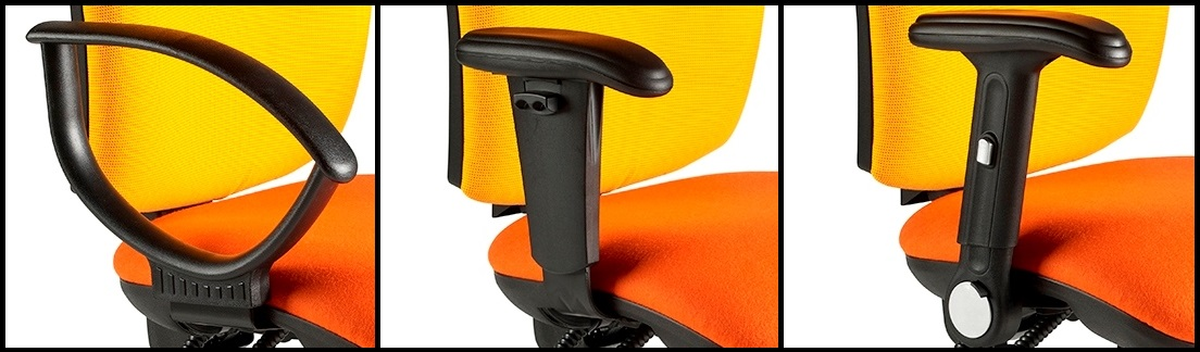 Harts Deluxe Square Back Draftsman Chair Black Arm Options