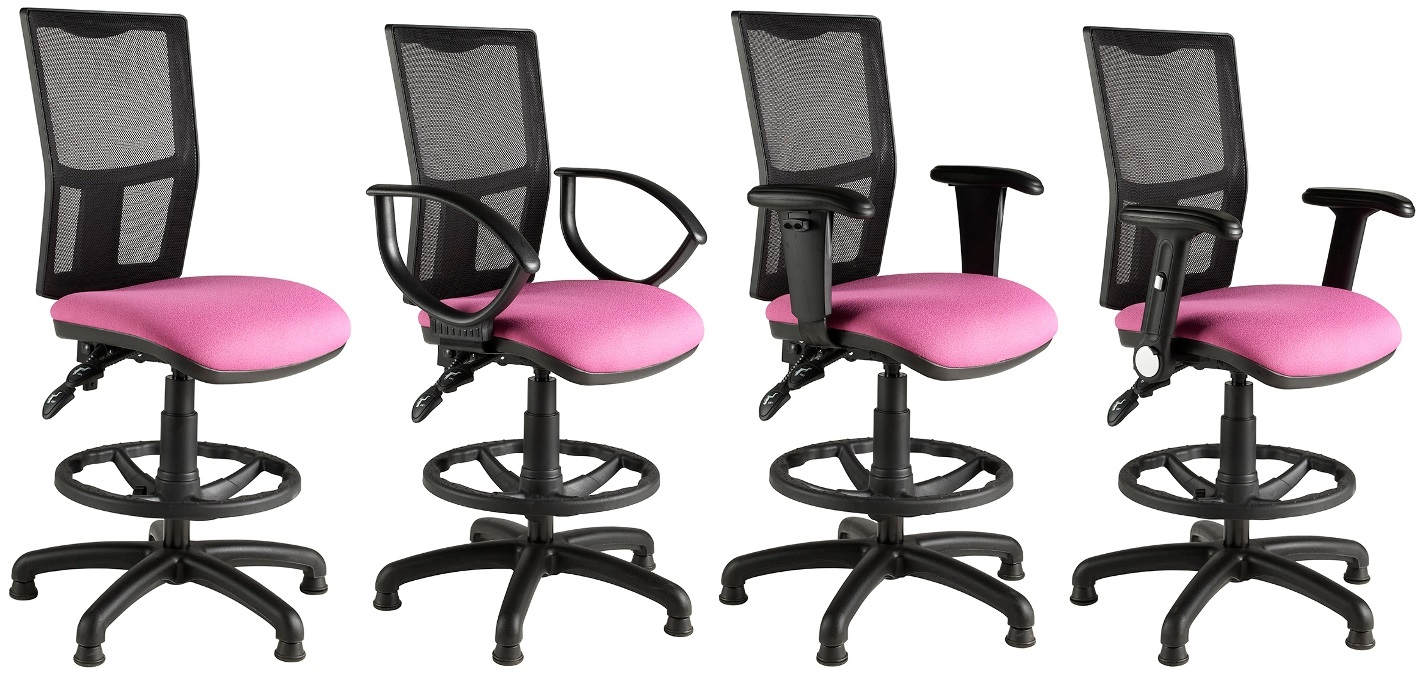 Harts Mesh Back Draftsmand Chair with Black Finish