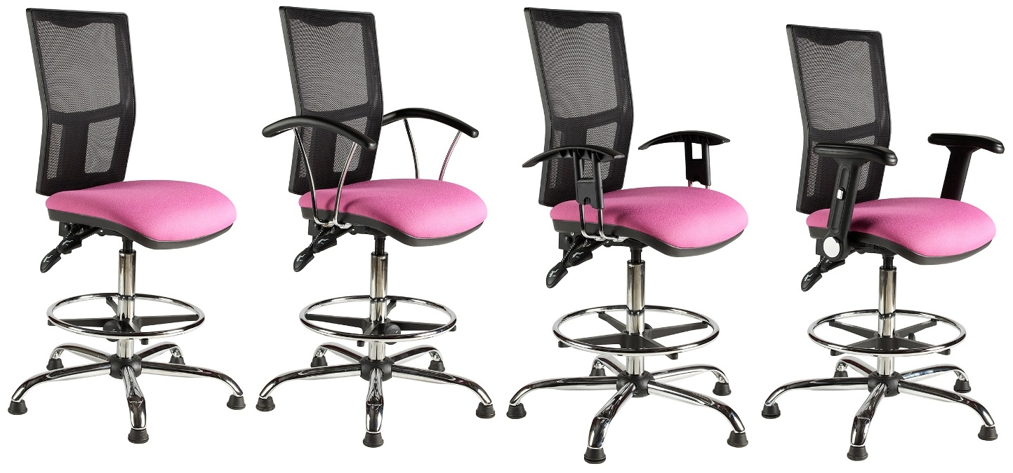Harts Mesh Back Draftsmand Chair with Chrome Finish