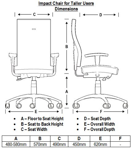 Impact Chair for Taller Users Dimensions