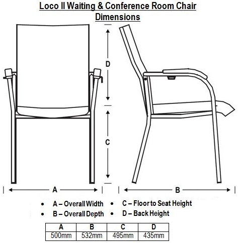 Loco II Waiting & Conference Room Chair Dimensions
