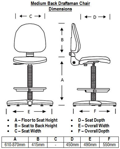 Medium Back Draftsman Chair Dimensions