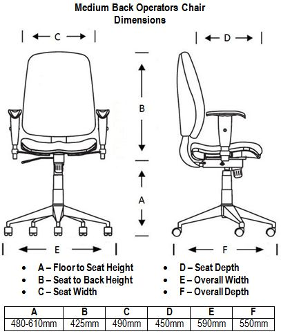 Medium Back Operators Chair Dimension