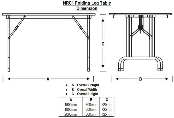 NRC1 Folding Leg Table Dimension