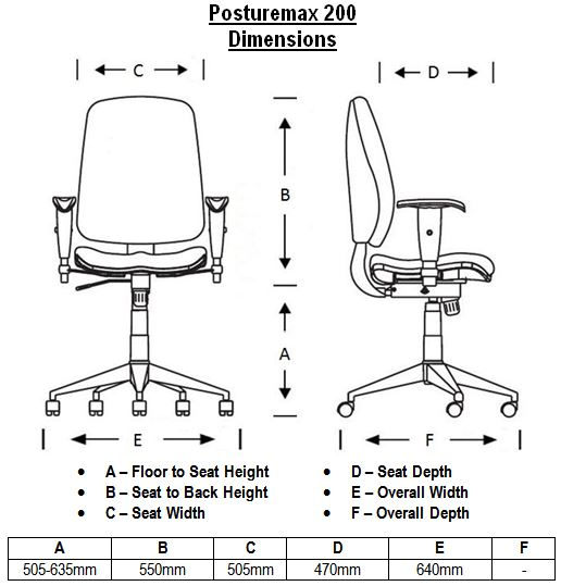 Posturemax 200 24 Hour Chair Dimensions