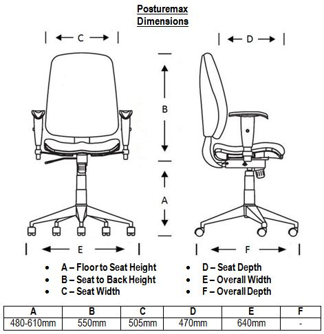 Posturemax Chair Dimensions