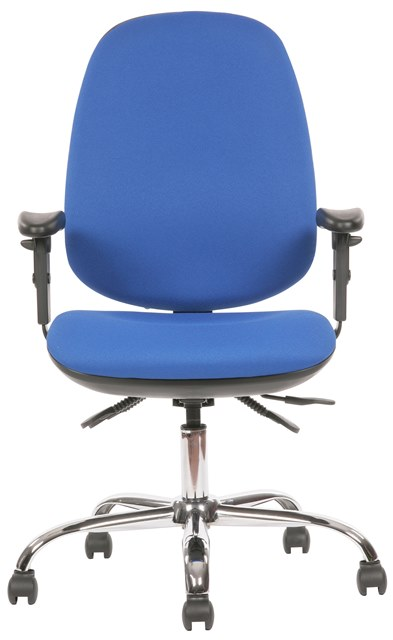 Tick High Back Operator Chair with Height Adjustable Arms Front and optional Chrome Base