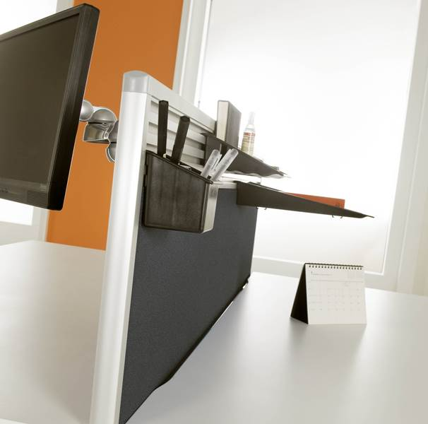 Genoa Desk Mounted Screens with Tool Bar Rail