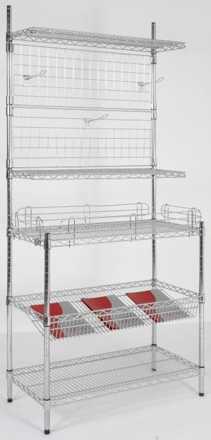 Wire Shelving with Sloping Shelf, Euro Display Hook, Cantilever Shelf & Shelf Ledges